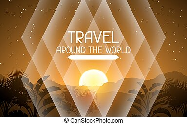Travel around the world. Tropical background with landscape, sun and palm trees