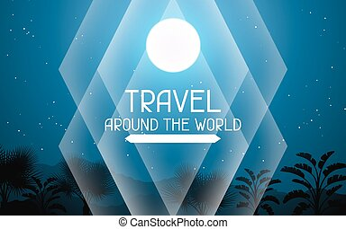 Travel around the world. Tropical background with landscape, moon and palm trees