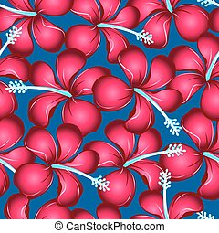 Red tropical hibiscus flowers with blue pistil seamless pattern