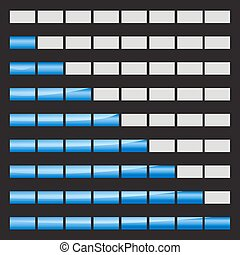Horizontal progress bars 8 positions vector illustrations