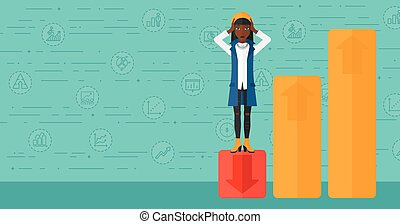 Business woman standing on low graph. - An african-american...