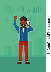 Happy successful businessman. - An african-american man with...