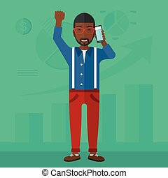 Happy successful businessman - An african-american man with...