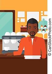 Barista standing near coffee maker - An african-american man...