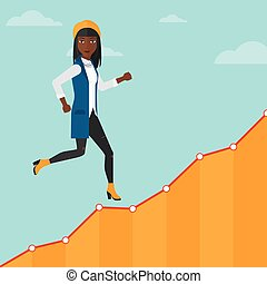 Business woman walking upstairs - An african-american woman...