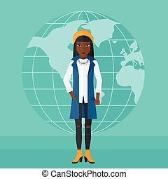 Business woman standing on globe background.