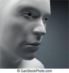 View of Human Head. Stipple Effect. Vector Art. Dot Design....