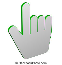 Hand cursor, isolated on white background 3D render