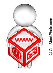 封筒,  signs:,  WWW, 電子メール, 人, 3D