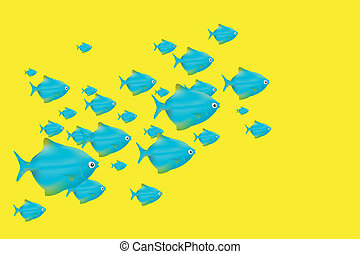 Blue Fishes on Yellow Background