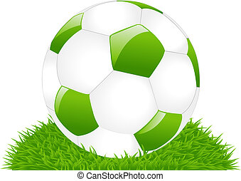 Green Soccer Ball On Grass - Green Soccer Ball On Green...