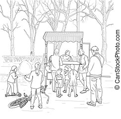 Cotton Candy Cart - Sketch of children in line for cotton...
