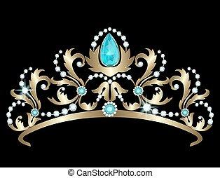 Tiara with diamonds and aquamarines - Golden tiara decorated...