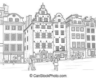 Sketch Stortorget in Stockholm - Sketch Stortorget square in...
