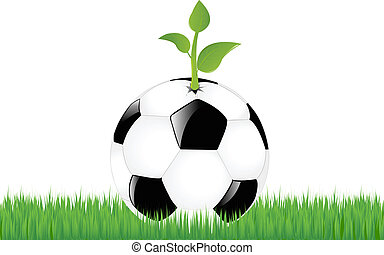Soccer Ball With Sprout On Green Grass