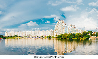 Building In Minsk in Central Downtown Nyamiha Nemiga. View...