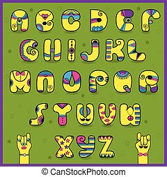 Dandy Alphabet. Funny yellow pink letters. Vector...