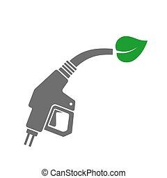 Bio Fuel Concept Icon Gas Station Gun with Green Leaf Vector...