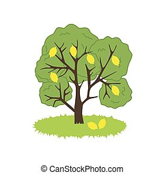 Lemon Tree Icon on the white background. Vector illustration