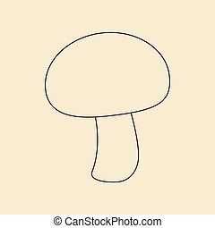 Mushroom champignon icon on a yellow background Vector...