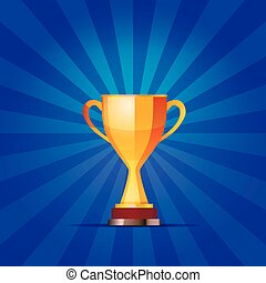 Cup of the winner on a blue striped background