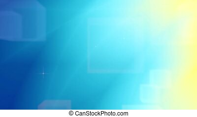 Blue and yellow motion background with blurred cubes and...