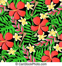 Tropical frangipani palms and hibiscus flowers seamless pattern
