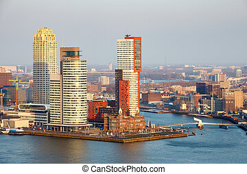 Rotterdam skyline - View of the Rotterdam skyline on the...