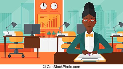 Woman signing contract. - An african-american woman sitting...