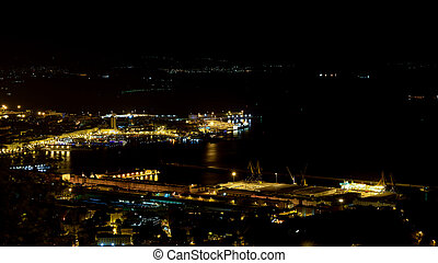 Triest at night - View over Triest from village Opicina. The...