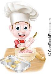 Little Cartoon Boy Baking