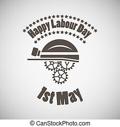 Labour Day Emblem - Labour day emblem with helmet and gears...