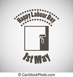 Labour Day Emblem - Labour day emblem with roller paintbrush...