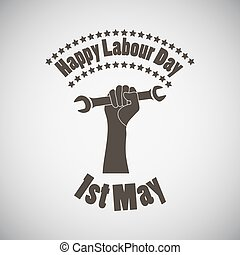 Labour Day Emblem - Labour day emblem with wrench in fist....