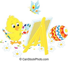 Easter Chick painter - A little yellow chicken drawing a...