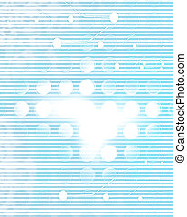 computer circuit on a soft blue background