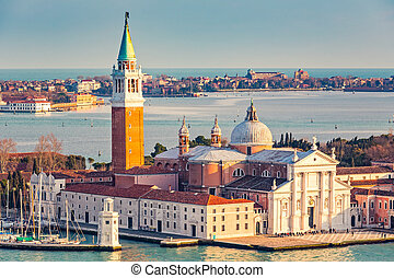 San Giorgio Maggiore island, Venice - Aerial view at San...