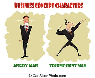 Concept of stress at work - Two cartoon businessmen, one of...