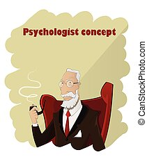 Elderly cartoon psychologist - Portrait of cartoon...