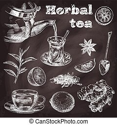 natural tea, lemon, ginger and star anise - hand drawn...