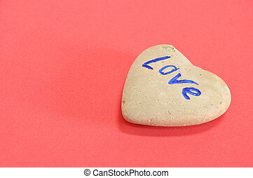 heart stone on red background