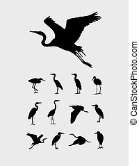 heroneps - Heron and Stork Bird Silhouettes, art vector...