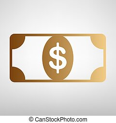 Bank Note dollar sign Flat style icon with golden gradient