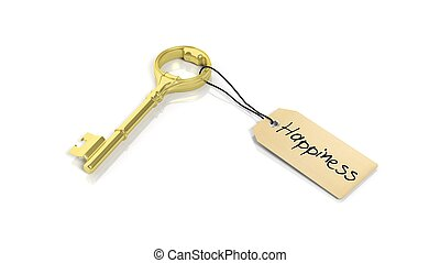 Tag with word Happiness on golden retro key , isolated on...