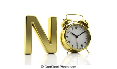 "3D golden word No with alarm clock as letter ""O"", isolated..."