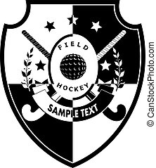 Sign field hockey on shield - two sticks, ball, ribbon with...