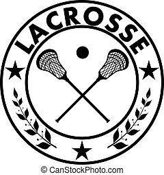 Sign lacrosse in a circle with a star and laurel branches....