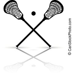 Crossed lacrosse stick and ball with reflection. Vector...
