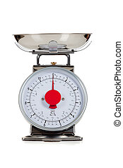 Empty food scale on a white background - An empty food scale...
