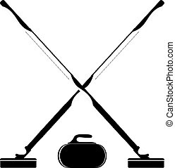 Brooms and stone for curling on a white background Vector...